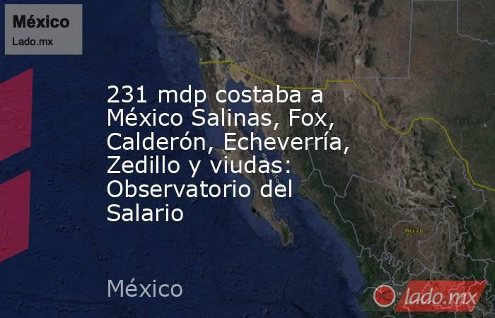 231 mdp costaba a México Salinas, Fox, Calderón, Echeverría, Zedillo y viudas: Observatorio del Salario. Noticias en tiempo real