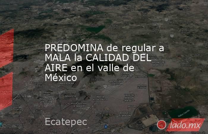 PREDOMINA de regular a MALA la CALIDAD DEL AIRE en el valle de México. Noticias en tiempo real