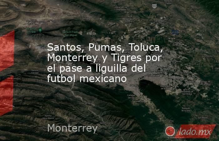 Santos, Pumas, Toluca, Monterrey y Tigres por el pase a liguilla del futbol mexicano. Noticias en tiempo real