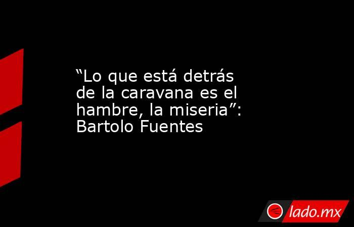 """""""Lo que está detrás de la caravana es el hambre, la miseria"""": Bartolo Fuentes. Noticias en tiempo real"""