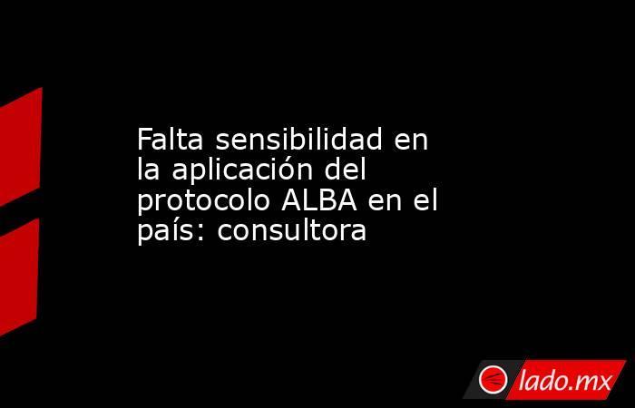 Falta sensibilidad en la aplicación del protocolo ALBA en el país: consultora. Noticias en tiempo real