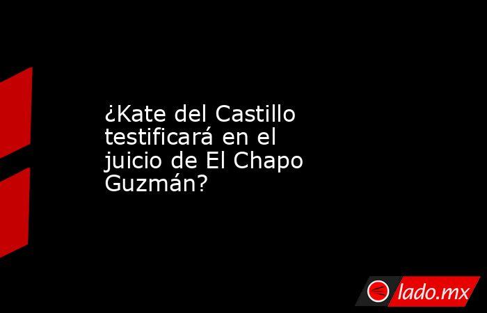 ¿Kate del Castillo testificará en el juicio de El Chapo Guzmán?. Noticias en tiempo real