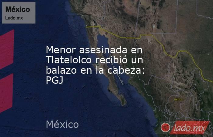 Menor asesinada en Tlatelolco recibió un balazo en la cabeza: PGJ. Noticias en tiempo real