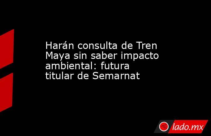 Harán consulta de Tren Maya sin saber impacto ambiental: futura titular de Semarnat. Noticias en tiempo real