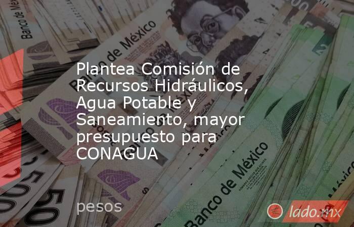 Plantea Comisión de Recursos Hidráulicos, Agua Potable y Saneamiento, mayor presupuesto para CONAGUA. Noticias en tiempo real