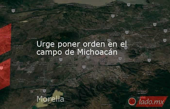 Urge poner orden en el campo de Michoacán. Noticias en tiempo real