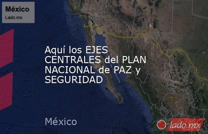 Aquí los EJES CENTRALES del PLAN NACIONAL de PAZ y SEGURIDAD. Noticias en tiempo real