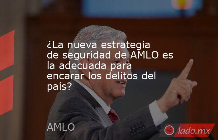 ¿La nueva estrategia de seguridad de AMLO es la adecuada para encarar los delitos del país?. Noticias en tiempo real