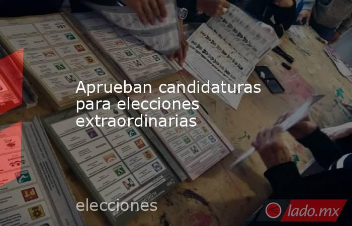 Aprueban candidaturas para elecciones extraordinarias. Noticias en tiempo real