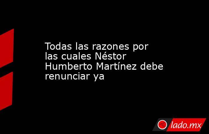 Todas las razones por las cuales Néstor Humberto Martínez debe renunciar ya. Noticias en tiempo real