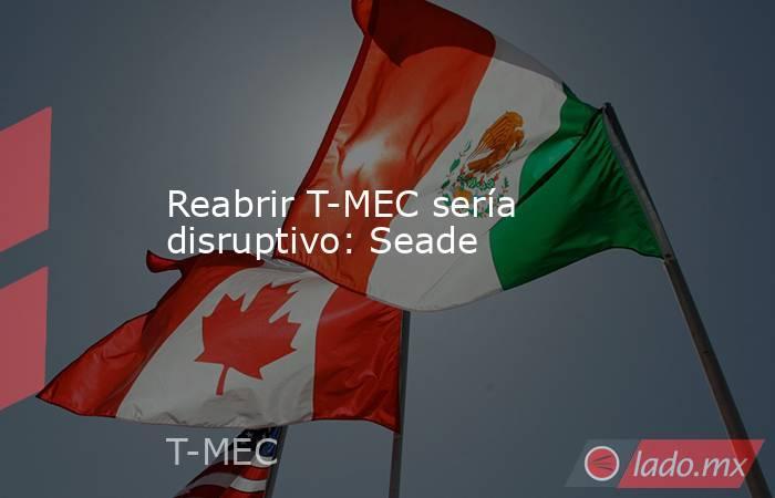 Reabrir T-MEC sería disruptivo: Seade. Noticias en tiempo real