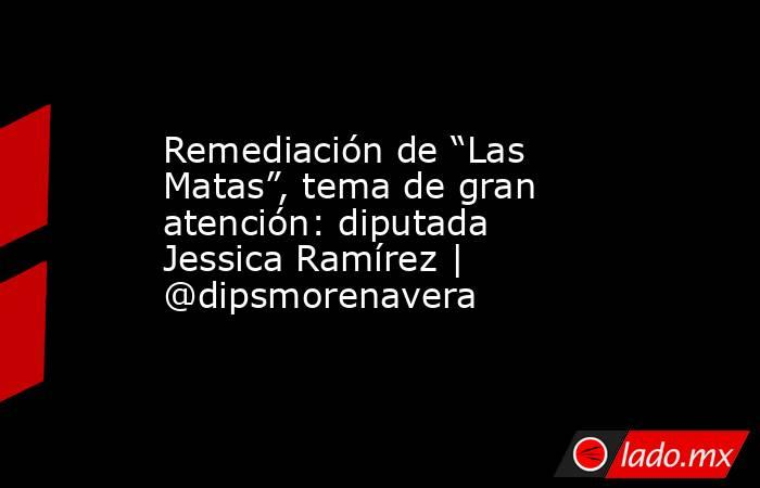 """Remediación de """"Las Matas"""", tema de gran atención: diputada Jessica Ramírez   @dipsmorenavera. Noticias en tiempo real"""