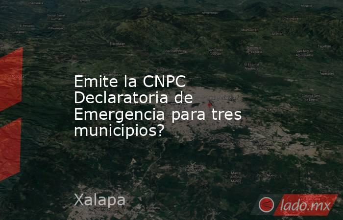 Emite la CNPC Declaratoria de Emergencia para tres municipios?. Noticias en tiempo real