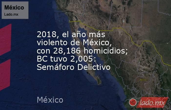 2018, el año más violento de México, con 28,186 homicidios; BC tuvo 2,005: Semáforo Delictivo. Noticias en tiempo real