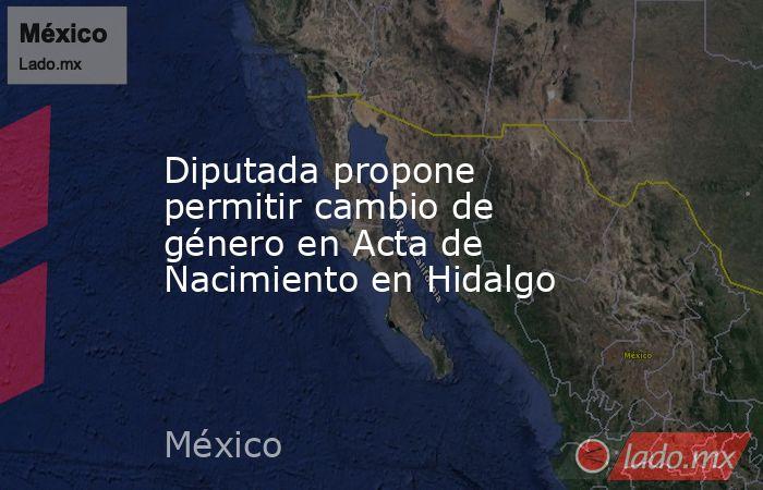 Diputada propone permitir cambio de género en Acta de Nacimiento en Hidalgo. Noticias en tiempo real
