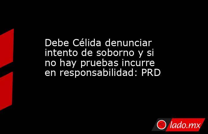 Debe Célida denunciar intento de soborno y si no hay pruebas incurre en responsabilidad: PRD. Noticias en tiempo real