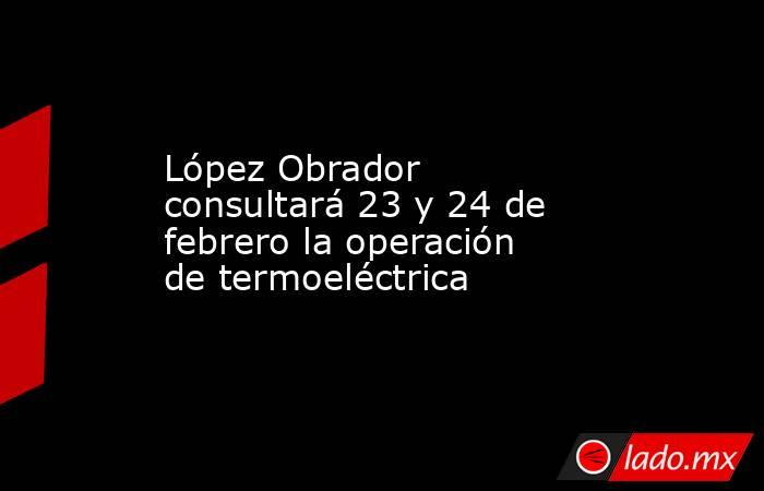 López Obrador consultará 23 y 24 de febrero la operación de termoeléctrica. Noticias en tiempo real