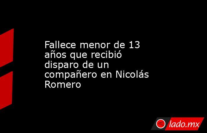 Fallece menor de 13 años que recibió disparo de un compañero en Nicolás Romero. Noticias en tiempo real