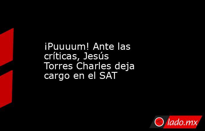 ¡Puuuum! Ante las críticas, Jesús Torres Charles deja cargo en el SAT. Noticias en tiempo real