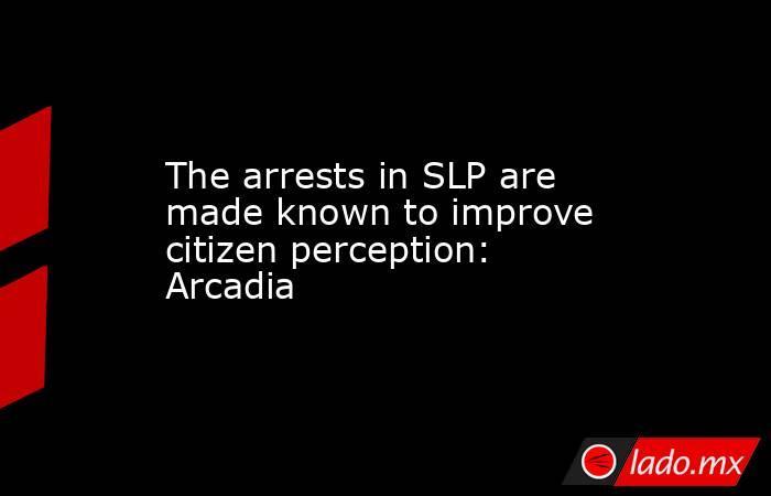 The arrests in SLP are made known to improve citizen perception: Arcadia. Noticias en tiempo real