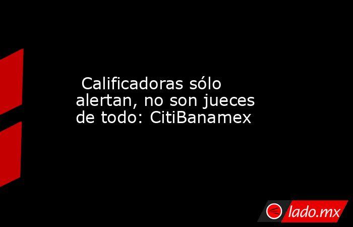 Calificadoras sólo alertan, no son jueces de todo: CitiBanamex. Noticias en tiempo real