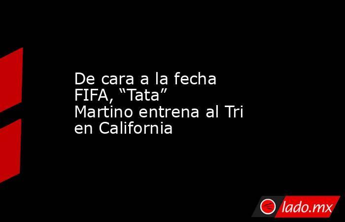 """De cara a la fecha FIFA, """"Tata"""" Martino entrena al Tri en California. Noticias en tiempo real"""