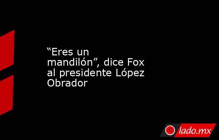 """""""Eres un mandilón"""", dice Fox al presidente López Obrador. Noticias en tiempo real"""