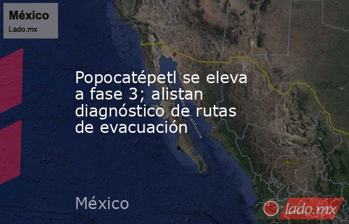 Popocatépetl se eleva a fase 3; alistan diagnóstico de rutas de evacuación. Noticias en tiempo real