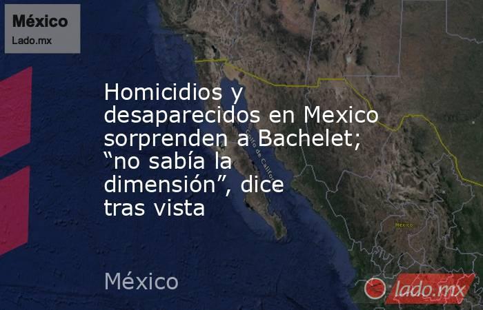 """Homicidios y desaparecidos en Mexico sorprenden a Bachelet; """"no sabía la dimensión"""", dice tras vista. Noticias en tiempo real"""