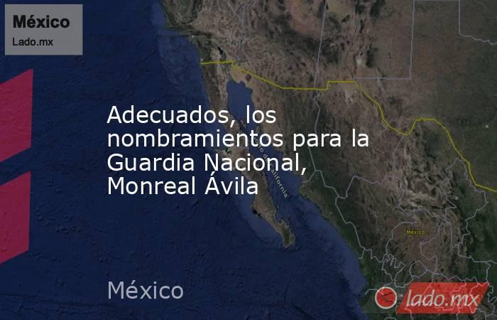 Adecuados, los nombramientos para la Guardia Nacional, Monreal Ávila. Noticias en tiempo real