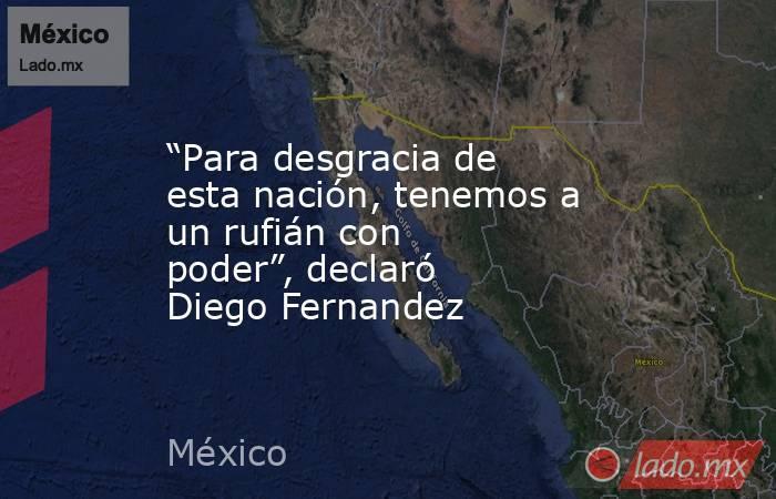"""""""Para desgracia de esta nación, tenemos a un rufián con poder"""", declaró Diego Fernandez. Noticias en tiempo real"""