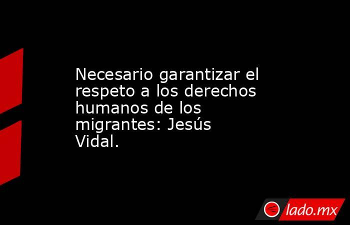 Necesario garantizar el respeto a los derechos humanos de los migrantes: Jesús Vidal.. Noticias en tiempo real