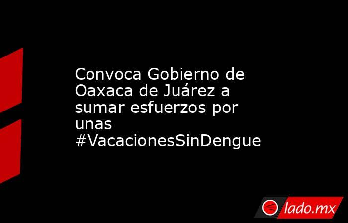 Convoca Gobierno de Oaxaca de Juárez a sumar esfuerzos por unas #VacacionesSinDengue. Noticias en tiempo real