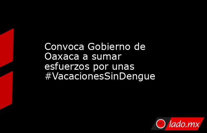 Convoca Gobierno de Oaxaca a sumar esfuerzos por unas #VacacionesSinDengue. Noticias en tiempo real