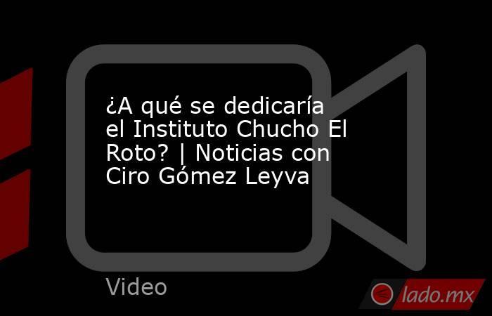 ¿A qué se dedicaría el Instituto Chucho El Roto? | Noticias con Ciro Gómez Leyva. Noticias en tiempo real