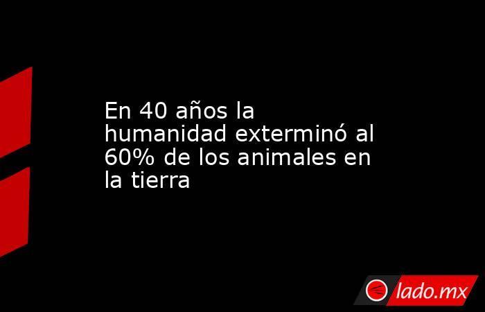 En 40 años la humanidad exterminó al 60% de los animales en la tierra. Noticias en tiempo real