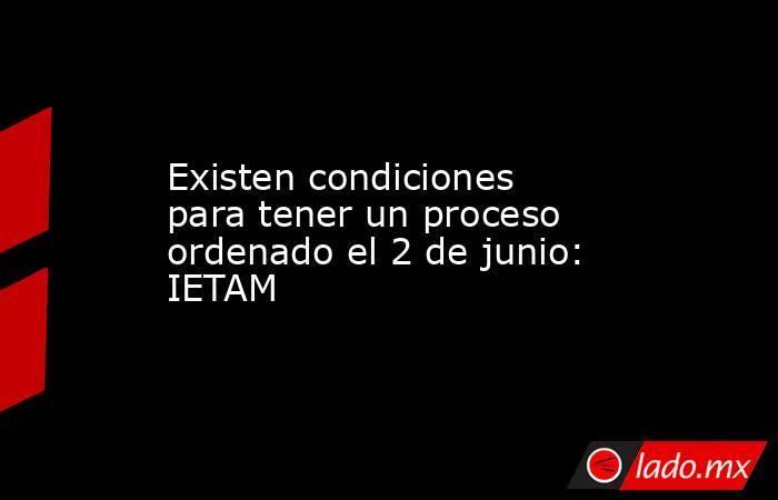 Existen condiciones para tener un proceso ordenado el 2 de junio: IETAM. Noticias en tiempo real