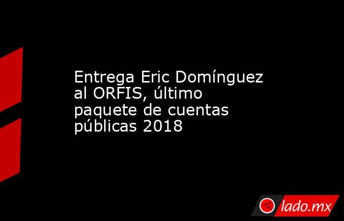 Entrega Eric Domínguez al ORFIS, último paquete de cuentas públicas 2018. Noticias en tiempo real