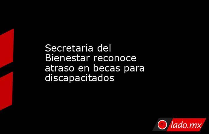 Secretaria del Bienestar reconoce atraso en becas para discapacitados. Noticias en tiempo real