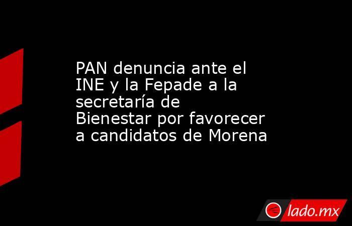 PAN denuncia ante el INE y la Fepade a la secretaría de Bienestar por favorecer a candidatos de Morena. Noticias en tiempo real