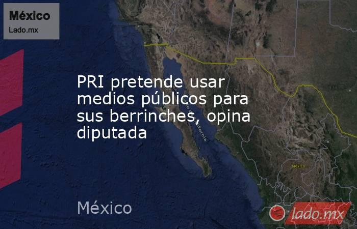 PRI pretende usar medios públicos para sus berrinches, opina diputada. Noticias en tiempo real
