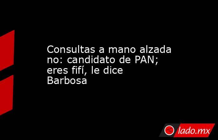 Consultas a mano alzada no: candidato de PAN; eres fifí, le dice Barbosa. Noticias en tiempo real