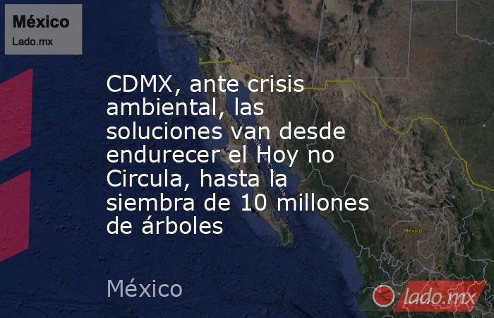 CDMX, ante crisis ambiental, las soluciones van desde endurecer el Hoy no Circula, hasta la siembra de 10 millones de árboles. Noticias en tiempo real