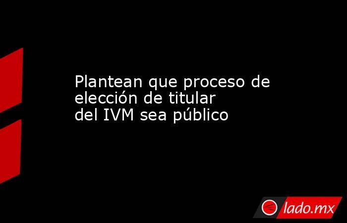 Plantean que proceso de elección de titular del IVM sea público. Noticias en tiempo real