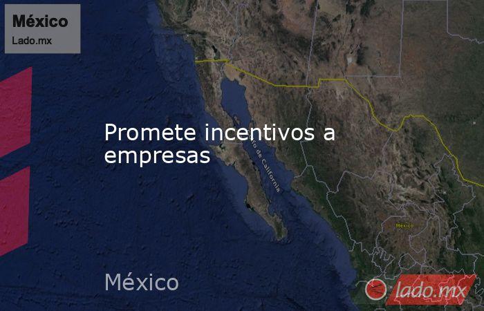 Promete incentivos a empresas. Noticias en tiempo real