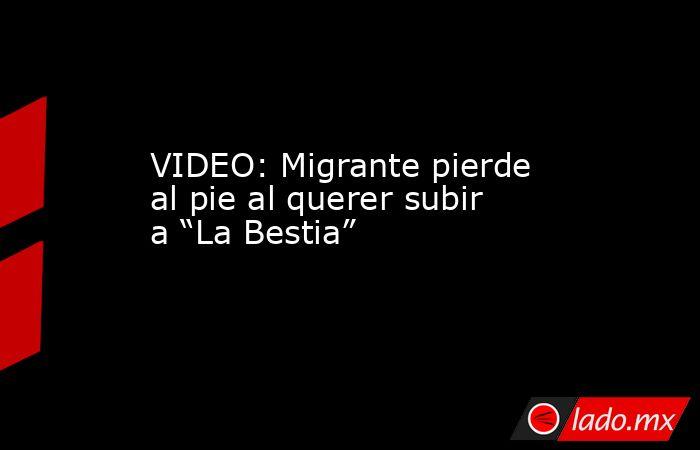 """VIDEO: Migrante pierde al pie al querer subir a """"La Bestia"""". Noticias en tiempo real"""