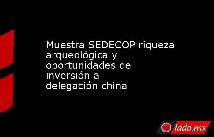 Muestra SEDECOP riqueza arqueológica y oportunidades de inversión a delegación china. Noticias en tiempo real