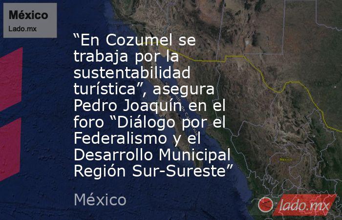 """""""En Cozumel se trabaja por la sustentabilidad turística"""", asegura Pedro Joaquín en el foro """"Diálogo por el Federalismo y el Desarrollo Municipal Región Sur-Sureste"""". Noticias en tiempo real"""
