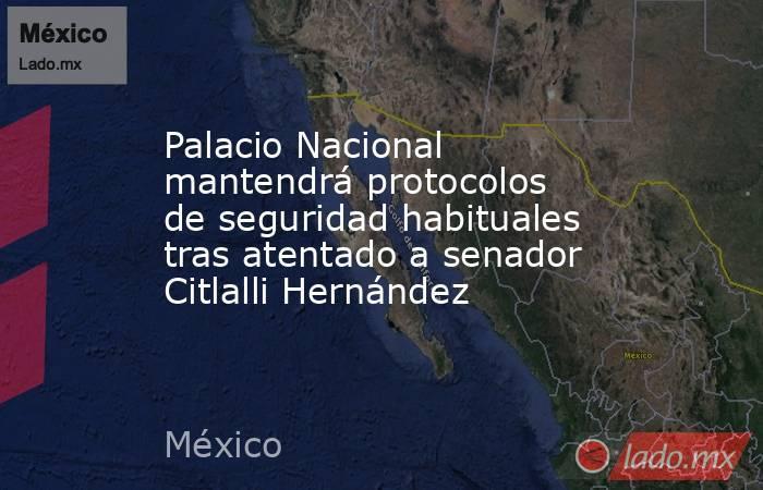 Palacio Nacional mantendrá protocolos de seguridad habituales tras atentado a senador Citlalli Hernández. Noticias en tiempo real