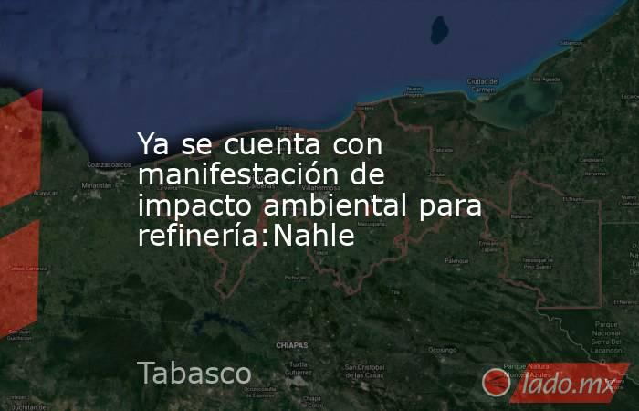 Ya se cuenta con manifestación de impacto ambiental para refinería:Nahle. Noticias en tiempo real